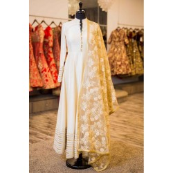 Cream Ethnic Art Silk Semi stich Salwar Suit Dupatta