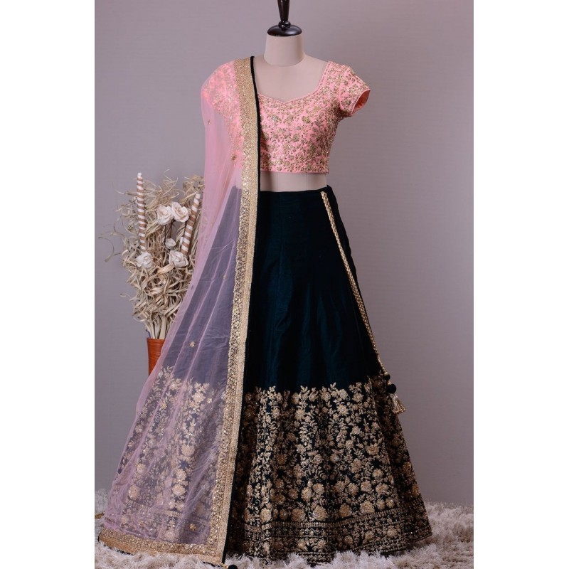 18405821f4b Pink And Black Heavy Embroidery Designer Taffeta silk Lehenga ...