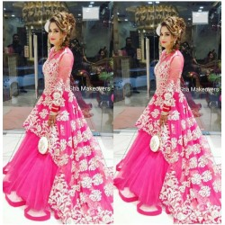 Pink Designer Net Full Embroidery Indowestern Semi Stich Suit
