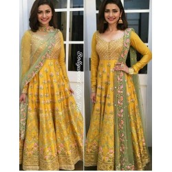 Yellow Banglori Embroidery Semi Stich Ethnic Salwar Suit Dupatta