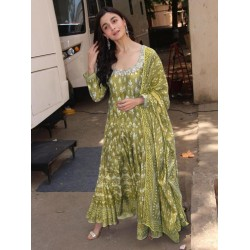Aliya Bhatt Chanderi Cotton Stich Gown with Dupatta