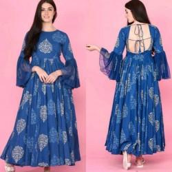 Long Gown type Bell slivees Reyon Kurti