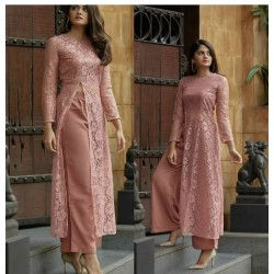 Trendy Slit Brasso Net Stich Kurti With Plazo