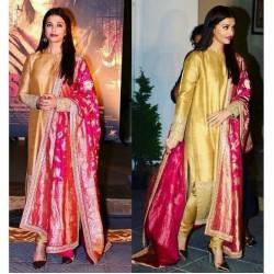 Aishwairya Rai Golden Designer Stich  Salwar suit with Banarasi Dupatta