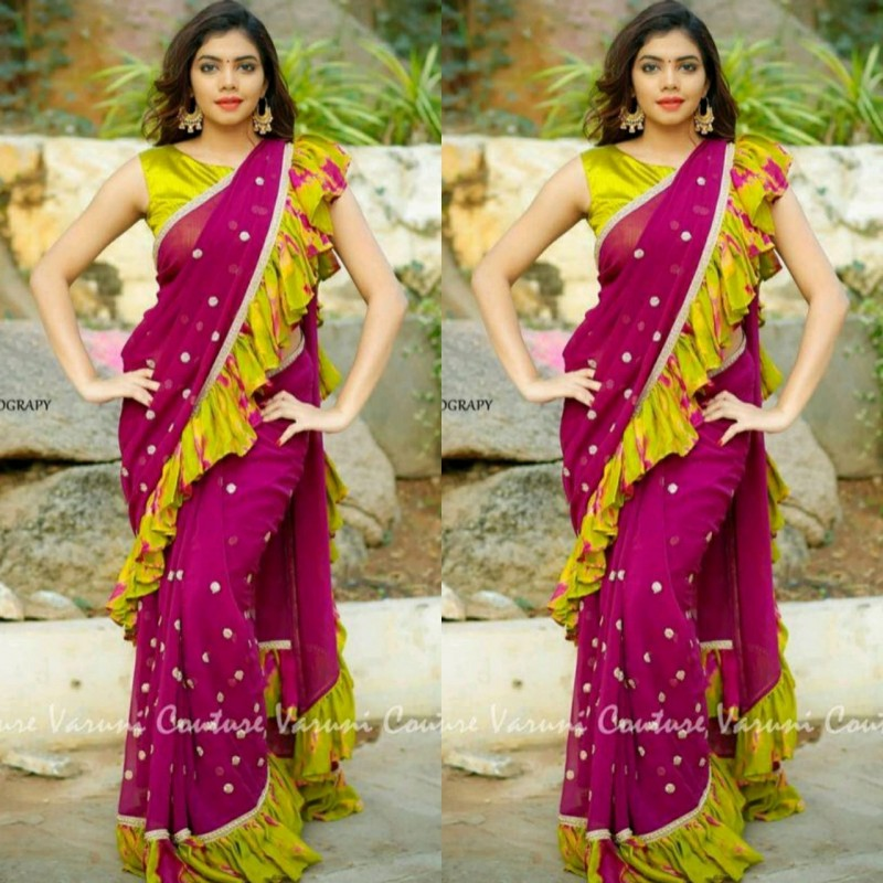 733dc8acda9eca Magenta And Lemon Green Georgette Ruffle Saree With Blouse