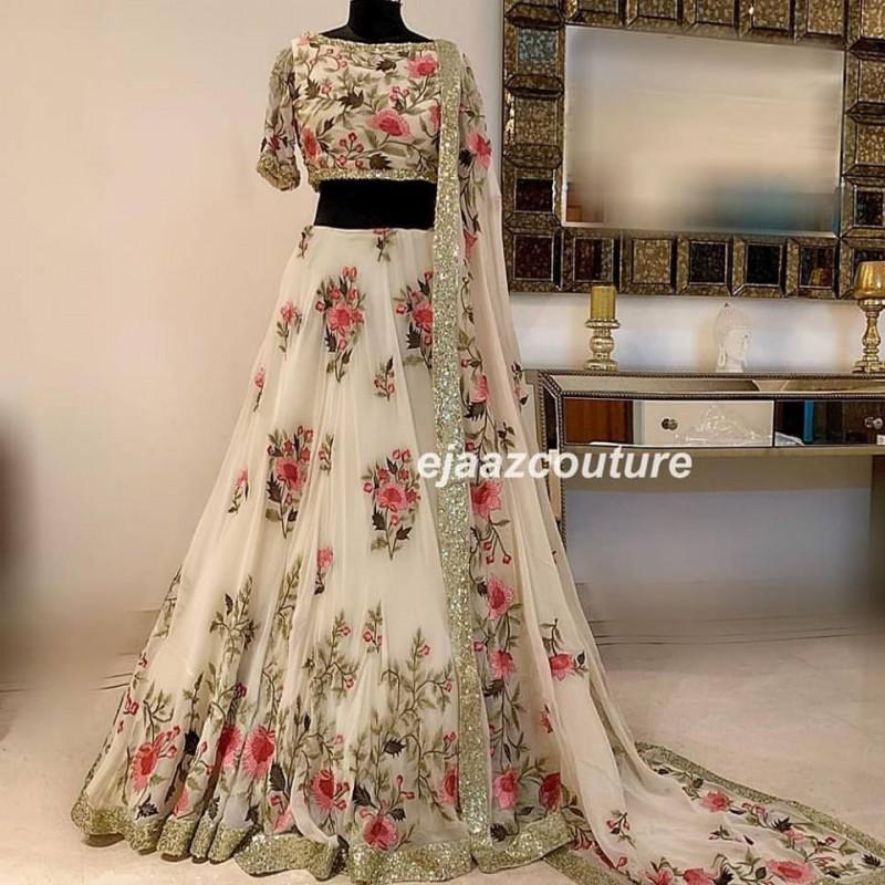 White Japani Crap Silk Wedding Lehenga Choli Dupatta