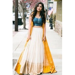 Yellow Designer Jacket Lehenga Semi-Stich Suit