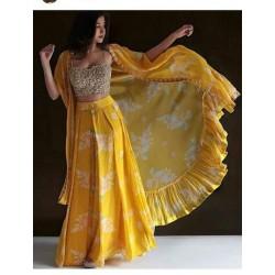 Yellow Designer Haldi Ceremony Stich Jacket Suit
