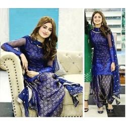 Royal Blue Jaquard Silk Patiyala Salwar Suit Dupatta
