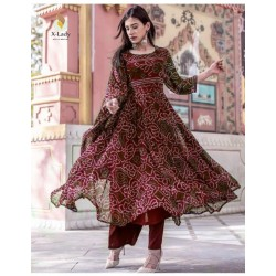 Maslineen Cottom Designer Bandhnai Stitch Suit