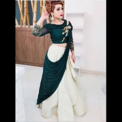 Green Draping Lehenga Choli