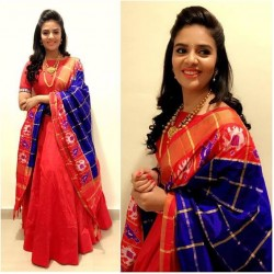 Red Color Long South Indian Gown with Heavy Banarasi Dupatta