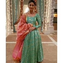 Green Color Banarasi Gown with Heavy Banarasi Dupatta