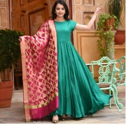 Green Color Long gown with heavy Banarasi Dupatta
