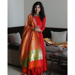 Red Color Wedding gown with heavy Banarasi Dupatta