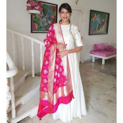 White Color Stitched Wedding gown with Heavy Banarasi Dupatta
