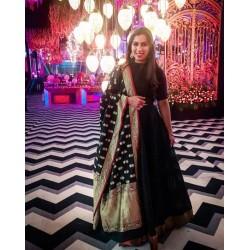 Black Color Wedding gown with heavy Banarasi Dupatta