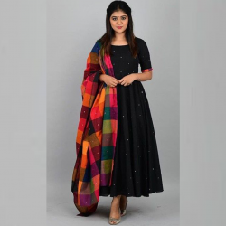 South indian Gown In Black Color Rayon Cotton Fabric Full Stitched