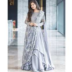 Grey Color Georgette Fabric Designer Gown | Wedding Party Suit |