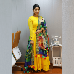 Haldi Special Yellow Color Full Stitched South Indian Anarkali Gown