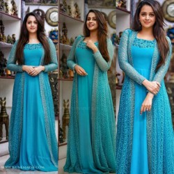 Happening Blue Color Stylish Stitched Jacket Gown for Festive occasion