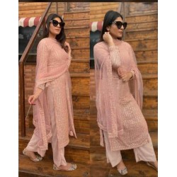 Auspicious Peach Color Palazzo Suit for party and wedding