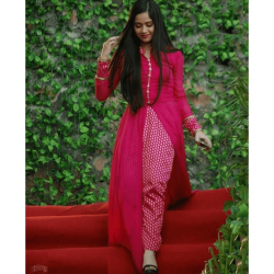 Beautiful Pink Festival Special Stitched Slit Kurti with Pant