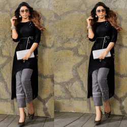 Asymmetric Kurti In Black Color In Reyon Fabric
