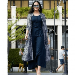 Trendy shrug with Blue stich gown