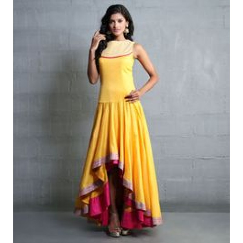 382b6c1a7f Yellow Colour up and down banglori silk gown