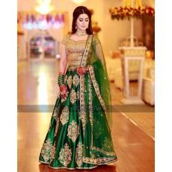 Green And Golden Color Wedding Lehenga Choli