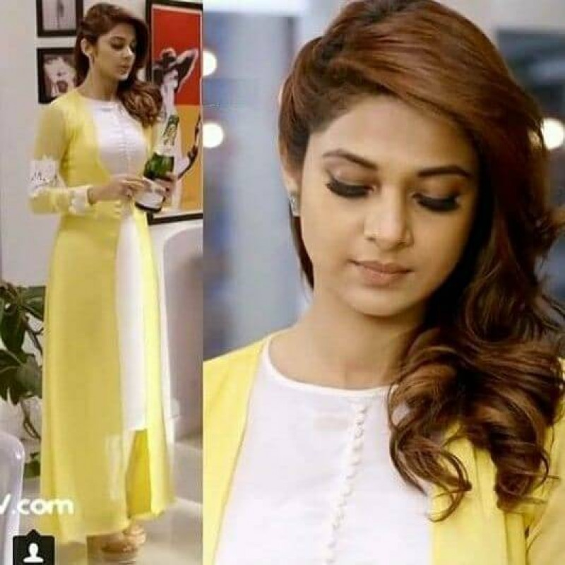 Jennifer Winget Yellow Color Stylish Indowestern Suit