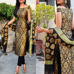 Off Shoulder Brocade Full Stitched Kurti with pant and dupatta