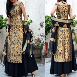 Off Shoulder Brocade Kurti with Skirt and Dupatta