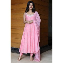 Priyanka Chopra Butti Worked pink color Stitched Salwar Suit