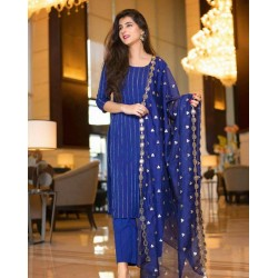 Royal blue color full stitched kurti pant with designer dupatta