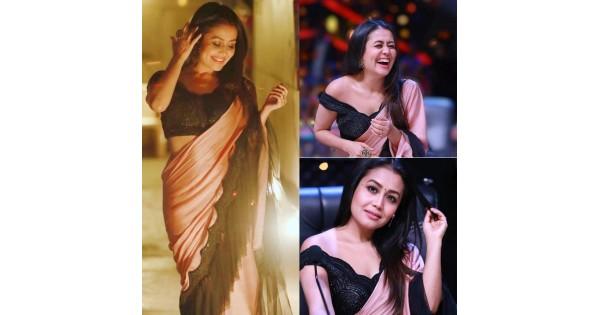 Neha Kakkar Beautiful Silk Ruffle Saree