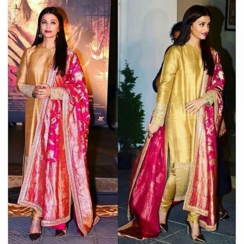 0e9c2e96f4 Aishwairya Rai Golden Designer Stich Salwar suit with Banarasi ...
