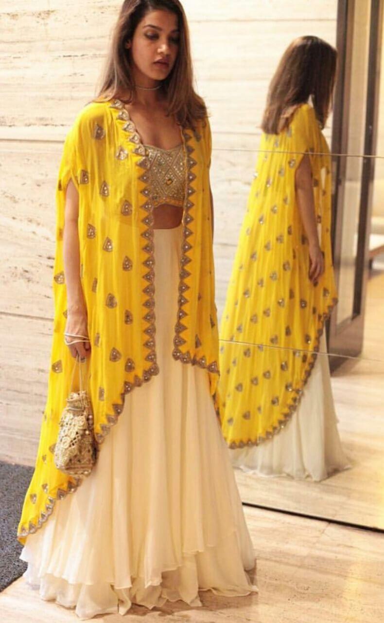 Yellow color Stylish Jaket Lehenga